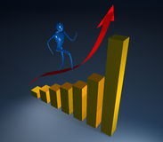 3d person going up. Person going on a rising red arrow Royalty Free Stock Photography