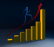3d person going up. Person going on a rising red arrow Stock Image