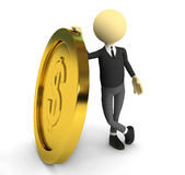 3d person with gold coin. 3d rendered image Royalty Free Stock Image