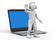 3d person with headsets and notebook. 3d person and notebook on white background