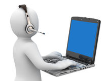 3d person with headsets and notebook
