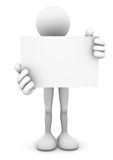 3D Person Holding Blank Card. 3D stick figure person standing and holding a big blank business card or signage board Royalty Free Stock Photos