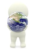 3D person holding the Earth Royalty Free Stock Photo