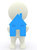 3D person holding a house Royalty Free Stock Photography