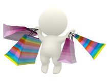 3D person holding a shopping bags Royalty Free Stock Image