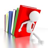 3d person holds falling books. 3d illustration Royalty Free Stock Image