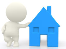 3D person with a house Stock Photo
