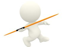 3D person with a javelin Royalty Free Stock Photos