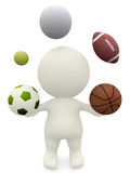 3D person juggling with sport balls Royalty Free Stock Images