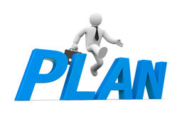 3d person jumps through the word plan Stock Photography