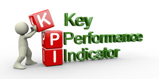 3d person and kpi cube. 3d render of man placing kpi ( key performance indicator ) cubes Royalty Free Stock Image