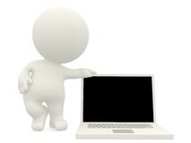 3D person with laptop Royalty Free Stock Photos