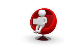 3d person with laptop sitting on sofa Royalty Free Stock Photography