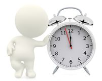3D person leaning on a clock Stock Image