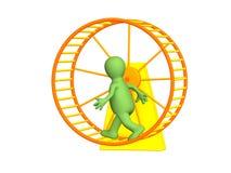 3d Person - Marionette, laufend innerhalb eines Rades Stockfoto