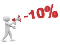 3d person with a megaphone and percentage 10%. Discounts Stock Photography