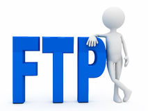 3d person near letters FTP over white background. Computer generated Royalty Free Stock Photo