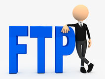 3d person near letters FTP over white background. Computer generated Royalty Free Stock Photography