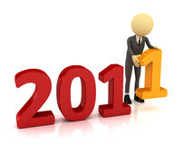 3d person with number 2011 Stock Images