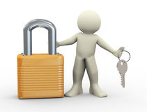 3d person and padlock. 3d illustration of man with padlock holding keys Stock Photography