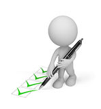3d person with a pen. 3d person makes a mark in the notebook. 3d image. White background Stock Photography
