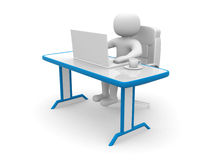 3d person. People to an office and a laptop. 3d render illustrator Stock Photo