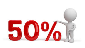 3d person with percent. 3d image. White background stock illustration