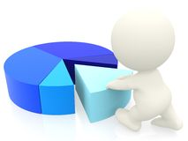 3D person with a pie chart Stock Image