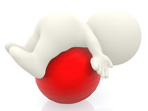 3D person with pilates ball Stock Images