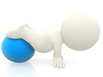 3D person with pilates ball Stock Photo