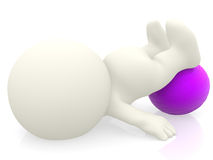 3D person with pilates ball Royalty Free Stock Photos