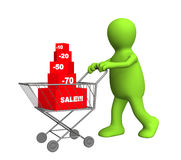 3d person - puppet, bought the goods at a discount Stock Photos