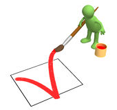 3d person - puppet, drawing in the document a tick. Objects over white Stock Photography