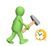 3d person - puppet, going with a hammer to hours. Objects over white Stock Photography