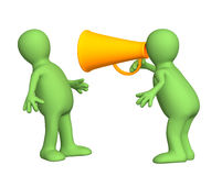 3d person - puppet with an orange megaphone Stock Image