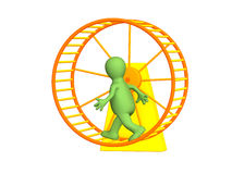 3d person - puppet, running inside a wheel stock photo