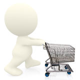 3D person pushing a shopping cart Stock Image