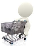 3D person pushing a trolley Stock Photo