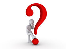 3d Person with Question Mark Stock Images