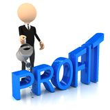 3d person raise profit. Stock Photo