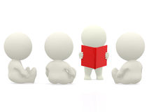 3D person reading to others Stock Image