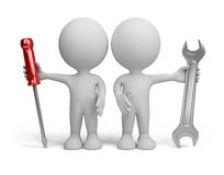 3d person -  repairers. Two 3d person with the tools in the hands of. 3d image. White background Stock Photos