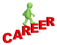 3d person, rising upwards on a ladder of career Stock Images