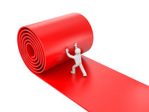 3d person rolling red carpet on white background. Image contain the clipping path Royalty Free Stock Images