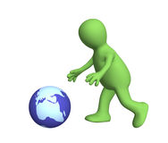 3d person running behind the sliding globe Stock Image