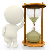 3D person with a sand clock Royalty Free Stock Photos