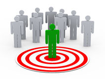 3d person selection from people group. 3d illustration of man on target choose from group of people on target Royalty Free Stock Photography