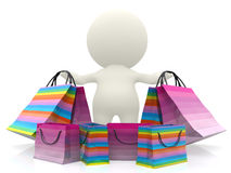 3D person with shopping bags Stock Image
