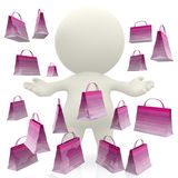 3D person with shopping bags Stock Photos