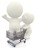 3D person in a shopping cart Royalty Free Stock Photography